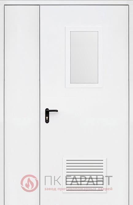 Металлическая дверь Полуторная ДПМ-02-В №35 EI-60 с остеклением 600×400 мм и противопожарной вентиляцией 300×150 мм