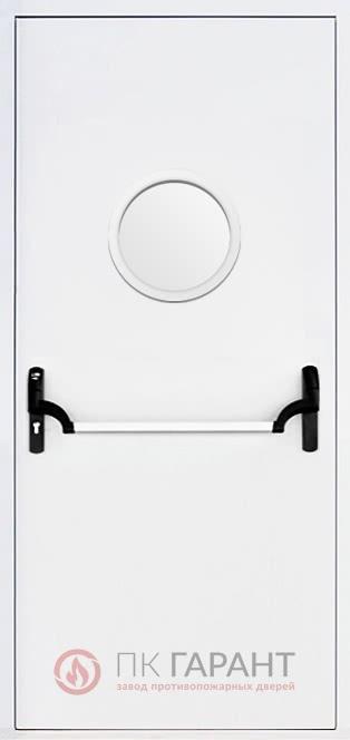 Металлическая дверь Одностворчатая ДПМ-01 EI-60 №7 с системой «Пуш-бар» (Антипаника, Apecs) и скругленным стеклопакетом ø 300 мм
