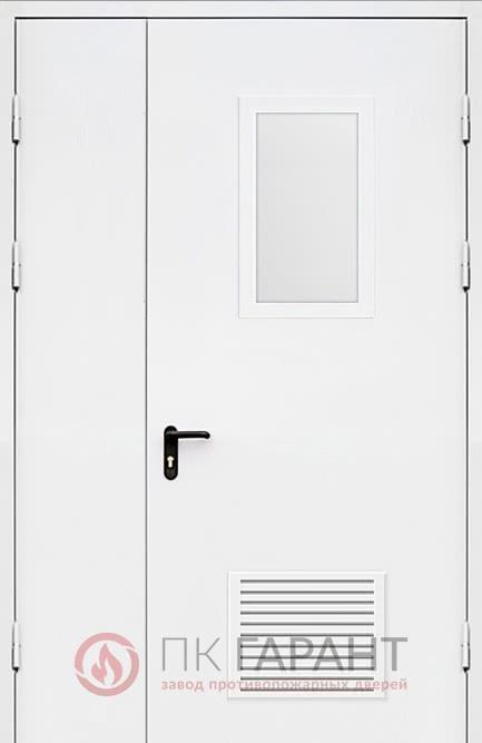 Металлическая входная дверь модели Полуторная ДПМ-02-В №35 EI-60 с остеклением 600×400 мм и противопожарной вентиляцией 300×150 мм, наружная сторона