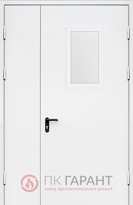 Металлическая входная дверь модели Полуторная ДПМ-02 EI-60 №11 с окном 600×400 мм, наружная сторона