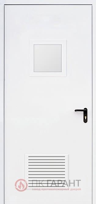 Металлическая дверь Однопольная ДПМ-01-В №25 EI-60 с решеткой 300×150 мм и остеклением 300×400 мм