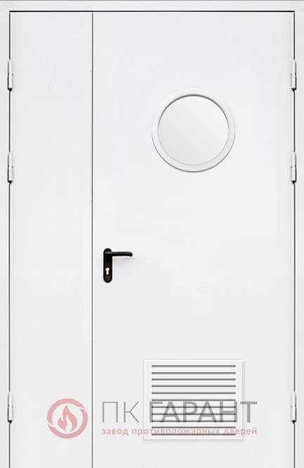 Металлическая входная дверь модели Полуторная вентиляционная (300×150 мм) ДПМ-02-В №38 EI-60 с замочной системой «Антипаника» и окном ø 300 мм, наружная сторона