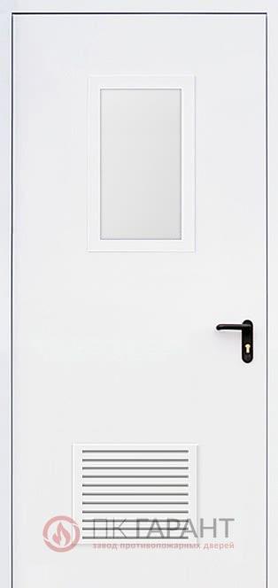 Металлическая входная дверь модели Однопольная ДПМ-01-В EI-60 №27 стеклопакетом 600×400 мм и решеткой противопожарной 300×150 мм, внутренняя сторона