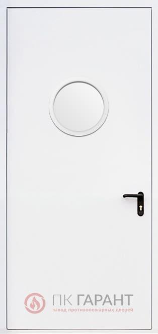 Металлическая входная дверь модели Одностворчатая ДПМ-01 №4 EI-60 с круглым окном ø 300 мм, внутренняя сторона