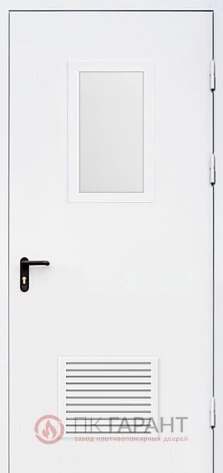 Металлическая входная дверь модели Однопольная ДПМ-01-В EI-60 №27 стеклопакетом 600×400 мм и решеткой противопожарной 300×150 мм, наружная сторона