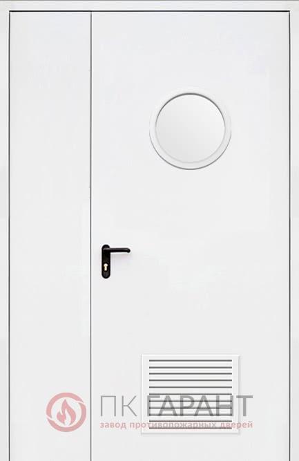 Металлическая дверь Полуторная ДПМ-02-В №34 EI-60 со скругленным окном ø 300 мм и вентиляцией 300×150 мм