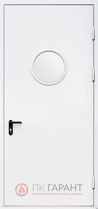 Металлическая входная дверь модели Одностворчатая ДПМ-01 №4 EI-60 с круглым окном ø 300 мм, наружная сторона