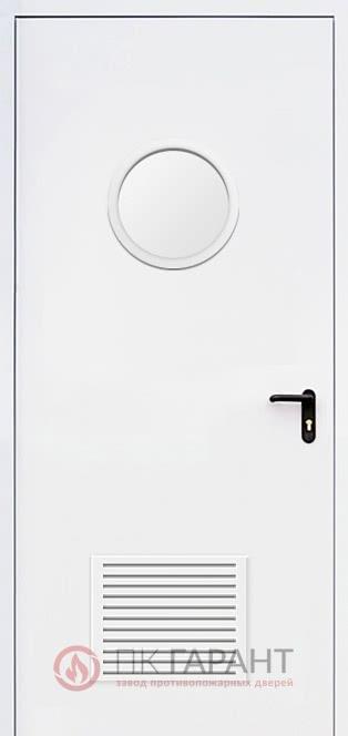 Металлическая входная дверь модели Однопольная ДПМ-01-В EI-60 №26 с решеткой 300×150 мм и круглым окном ø 300 мм, внутренняя сторона