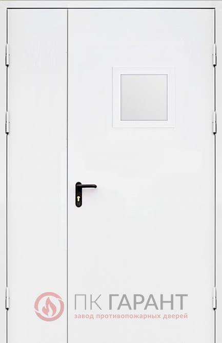 Металлическая входная дверь модели Полуторная ДПМ-02 №10 EI-60 со стеклопакетом 300×400 мм, наружная сторона