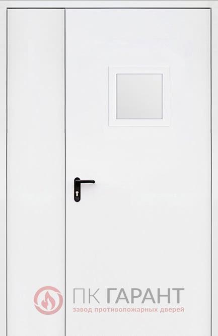 Металлическая дверь Полуторная ДПМ-02 №10 EI-60 со стеклопакетом 300×400 мм