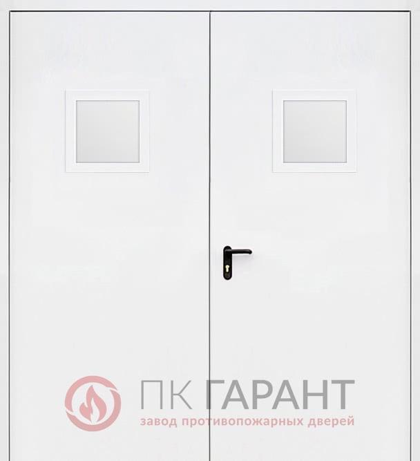 Металлическая дверь Двупольная противопожарная дверь №18 EI-60 с двумя стеклопакетами 300×400 мм