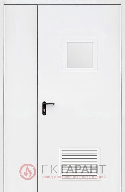 Металлическая входная дверь модели Полуторная вентиляционная (300×150 мм) ДПМ-02-В №37 EI-60 с замочной системой «Антипаника» и окном 300×400 мм, наружная сторона