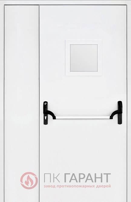 Металлическая дверь Полуторная ДПМ-02 EI-60 №13 «Антипаника» с вентиляцией 300×150 мм и стеклопакетом 300×400 мм