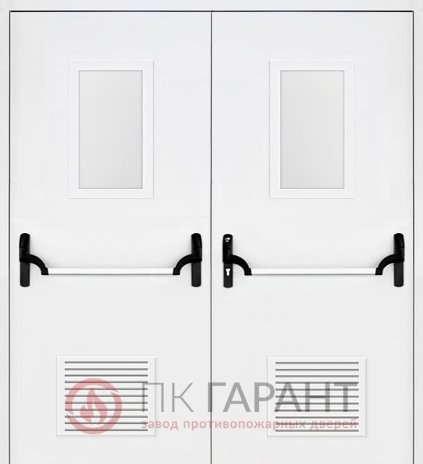 Металлическая дверь Двупольная дверь ДПМ-02-В №47 EI-60 «Антипаника» (ISEO) «Push-bar» (Apecs), решетками 300×150 мм и стеклопакетами 600×400 мм